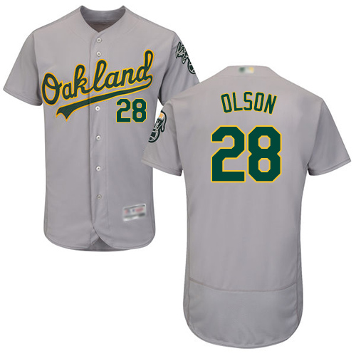 Athletics #28 Matt Olson Grey Flexbase Authentic Collection Stitched MLB Jersey
