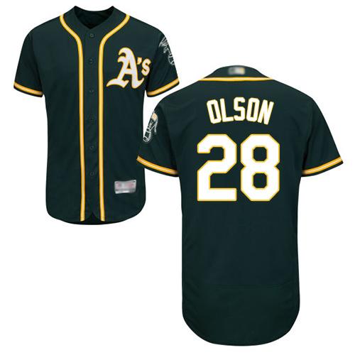 Athletics #28 Matt Olson Green Flexbase Authentic Collection Stitched MLB Jersey