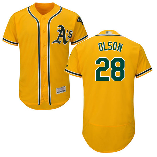 Athletics #28 Matt Olson Gold Flexbase Authentic Collection Stitched MLB Jersey