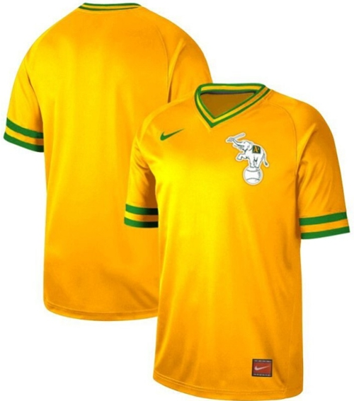 Nike Athletics Blank Yellow Authentic Cooperstown Collection Stitched MLB Jersey