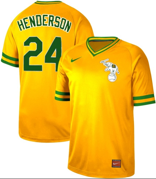 Nike Athletics #24 Rickey Henderson Yellow Authentic Cooperstown Collection Stitched MLB Jersey