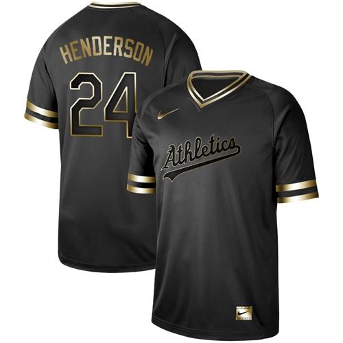 Nike Athletics #24 Rickey Henderson Black Gold Authentic Stitched MLB Jersey