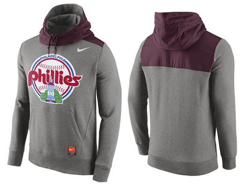 Men's Philadelphia Phillies Nike Gray Cooperstown Collection Hybrid Pullover Hoodie