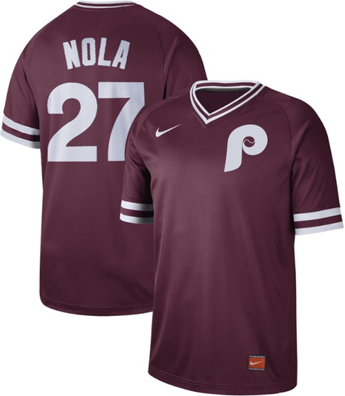 Nike Phillies #27 Aaron Nola Maroon Authentic Cooperstown Collection Stitched MLB Jersey