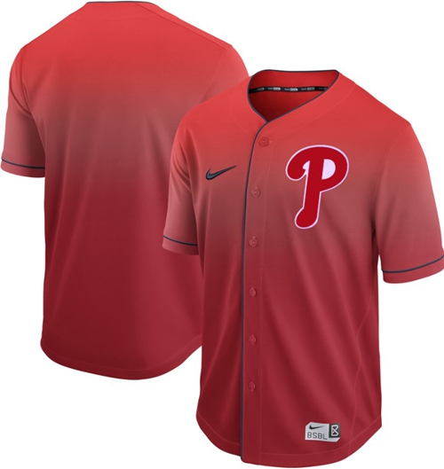 Nike Phillies Blank Red Fade Authentic Stitched MLB Jersey