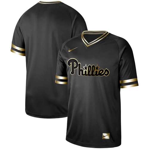 Nike Phillies Blank Black Gold Authentic Stitched MLB Jersey