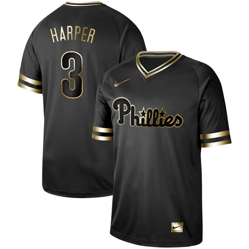 Nike Phillies #3 Bryce Harper Black Gold Authentic Stitched MLB Jersey