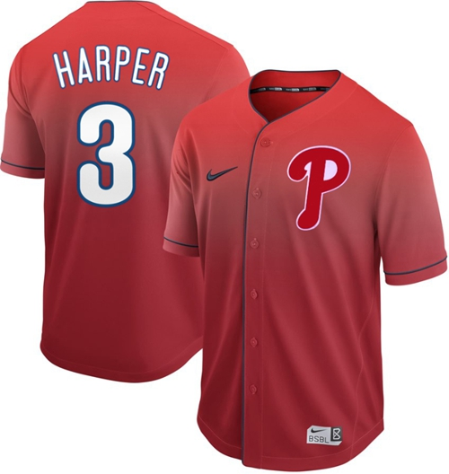 Nike Phillies #3 Bryce Harper Red Fade Authentic Stitched MLB Jersey