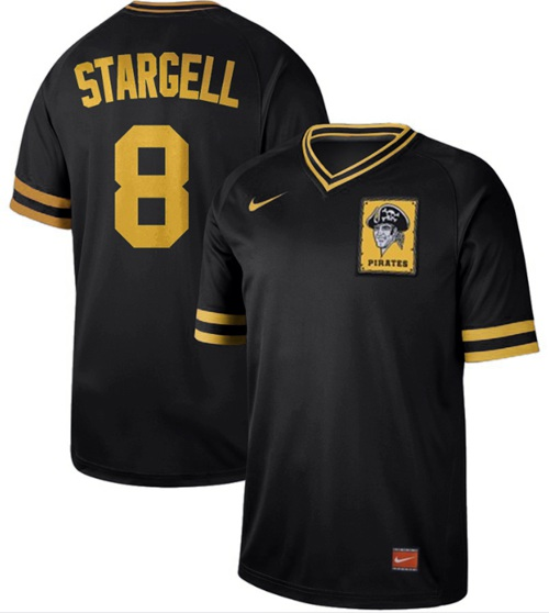 Nike Pirates #8 Willie Stargell Black Authentic Cooperstown Collection Stitched MLB Jersey