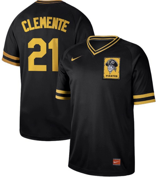 Nike Pirates #21 Roberto Clemente Black Authentic Cooperstown Collection Stitched MLB Jersey