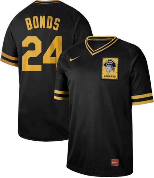 Nike Pirates #24 Barry Bonds Black Authentic Cooperstown Collection Stitched MLB Jersey