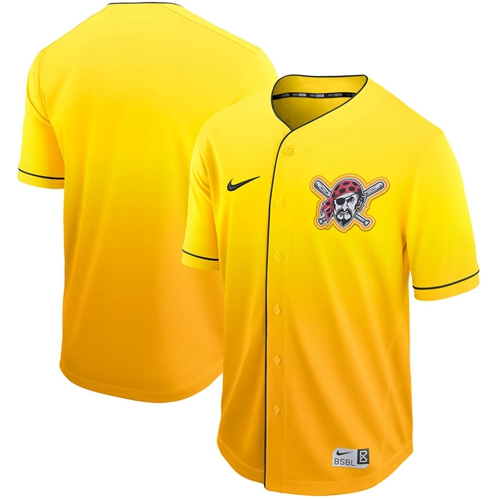 Nike Pirates Blank Gold Fade Authentic Stitched MLB Jersey