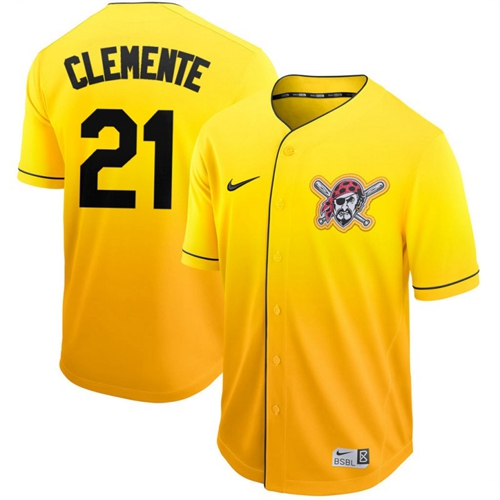 Nike Pirates #21 Roberto Clemente Gold Fade Authentic Stitched MLB Jersey