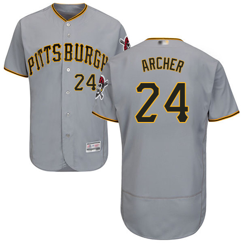 Pirates #24 Chris Archer Grey Flexbase Authentic Collection Stitched MLB Jersey