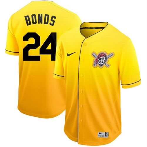 Nike Pirates #24 Barry Bonds Gold Fade Authentic Stitched MLB Jersey