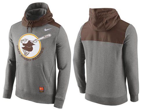 Men's San Diego Padres Nike Gray Cooperstown Collection Hybrid Pullover Hoodie
