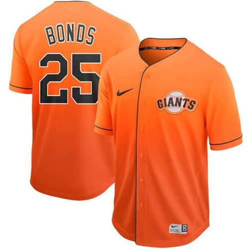 Nike Giants #25 Barry Bonds Orange Fade Authentic Stitched MLB jerseys