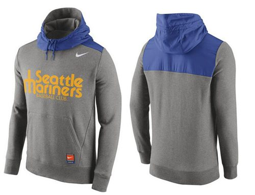 Men's Seattle Mariners Nike Gray Cooperstown Collection Hybrid Pullover Hoodie