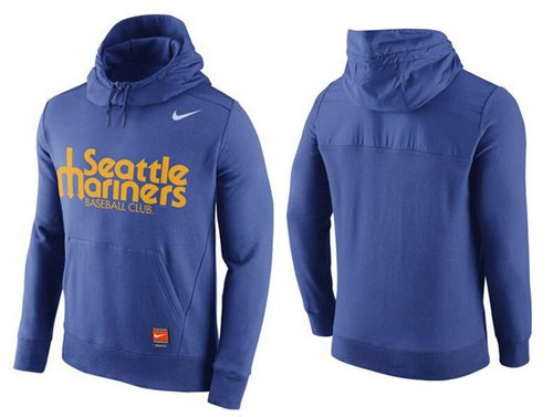 Men's Seattle Mariners Nike Blue Cooperstown Collection Hybrid Pullover Hoodie