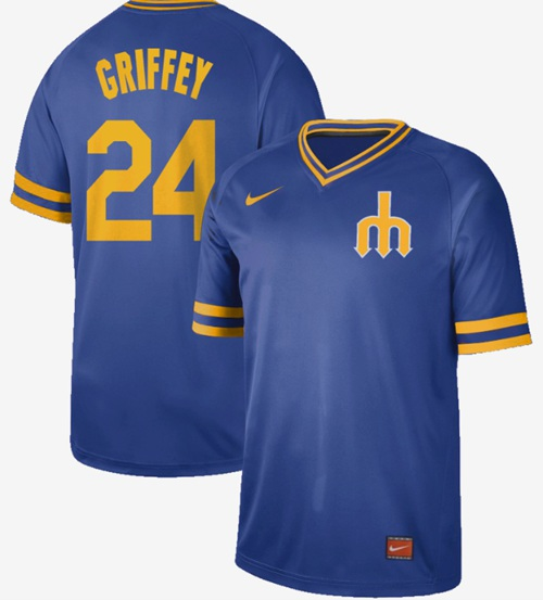 Nike Mariners #24 Ken Griffey Royal Authentic Cooperstown Collection Stitched MLB Jersey