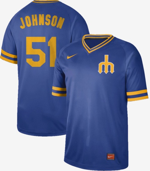 Nike Mariners #51 Randy Johnson Royal Authentic Cooperstown Collection Stitched MLB Jersey