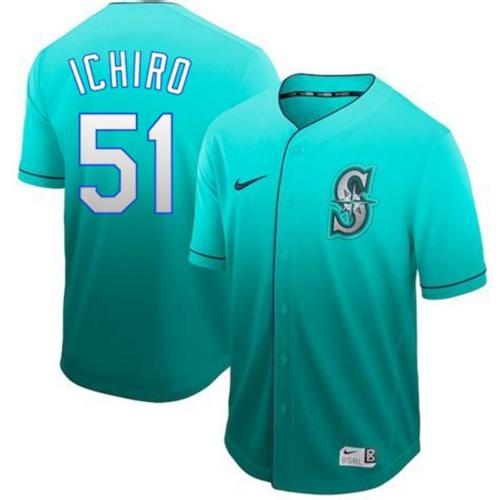 Nike Mariners #51 Ichiro Suzuki Green Fade Authentic Stitched MLB Jersey