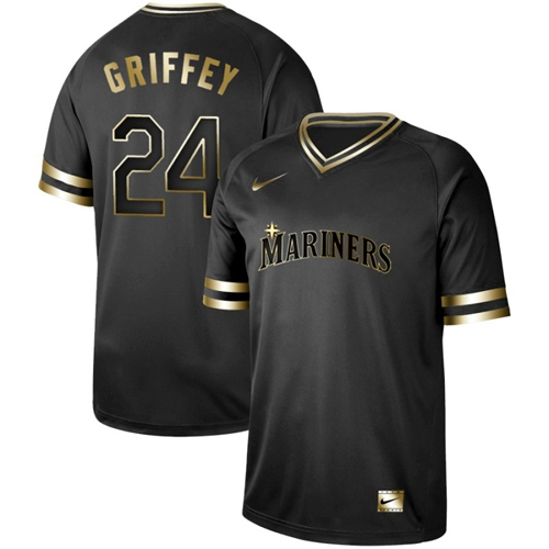 Nike Mariners #24 Ken Griffey Black Gold Authentic Stitched MLB Jersey