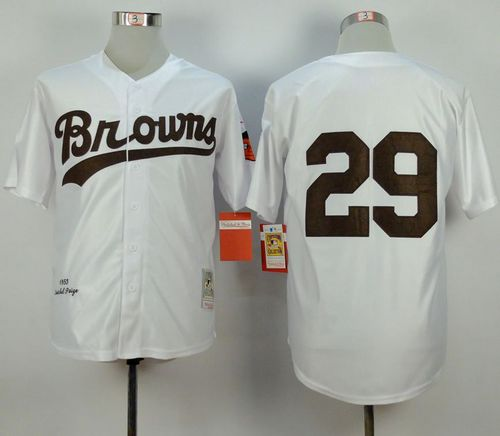Mitchell and Ness 1953 Browns #29 Satchel Paige White Throwback Stitched MLB Jersey
