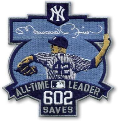 Stitched New York Yankees 42 Mariano Rivera 602 Saves Jersey Patch
