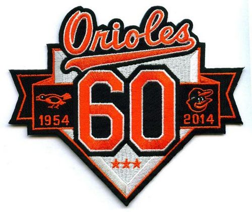 Stitched MLB 2014 Baltimore Orioles 60th Anniversary Season Jersey Sleeve Patch (1954)