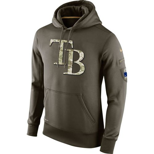 Men's Tampa Bay Rays Nike Olive Salute To Service KO Performance Hoodie