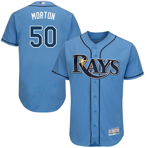 Rays #50 Charlie Morton Light Blue Flexbase Authentic Collection Stitched MLB Jersey