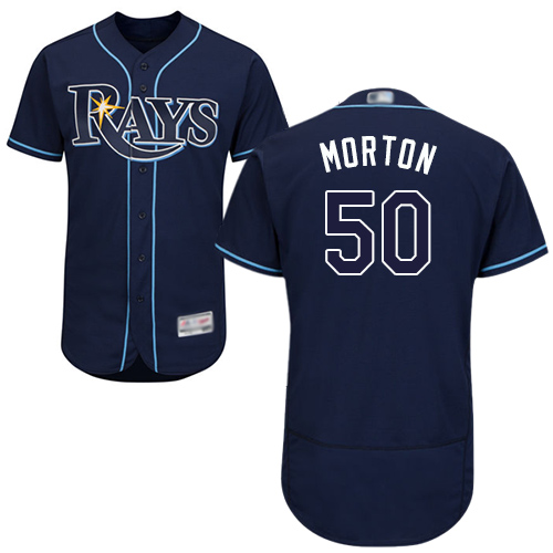 Rays #50 Charlie Morton Dark Blue Flexbase Authentic Collection Stitched MLB Jersey