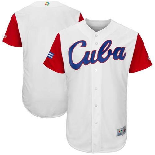 Team Cuba Blank White 2017 World MLB Classic Authentic Stitched MLB Jersey