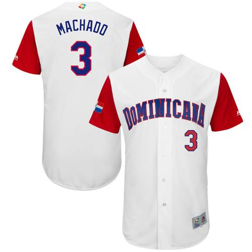 Team Dominican Republic #3 Manny Machado White 2017 World MLB Classic Authentic Stitched MLB Jersey