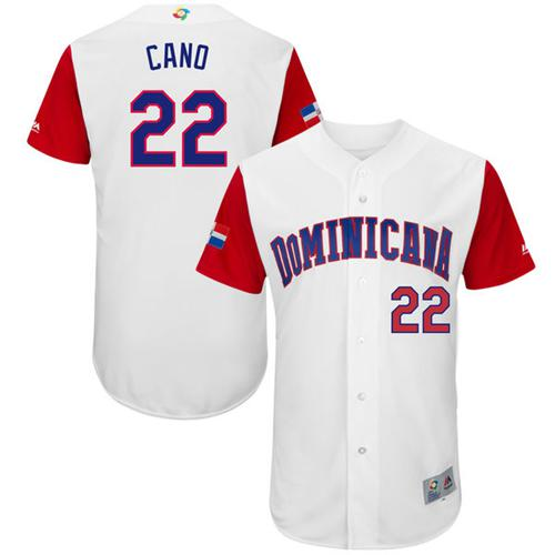 Team Dominican Republic #22 Robinson Cano White 2017 World MLB Classic Authentic Stitched MLB Jersey