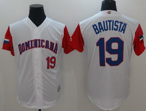 Team Dominican Republic #19 Jose Bautista White 2017 World MLB Classic Authentic Stitched MLB Jersey