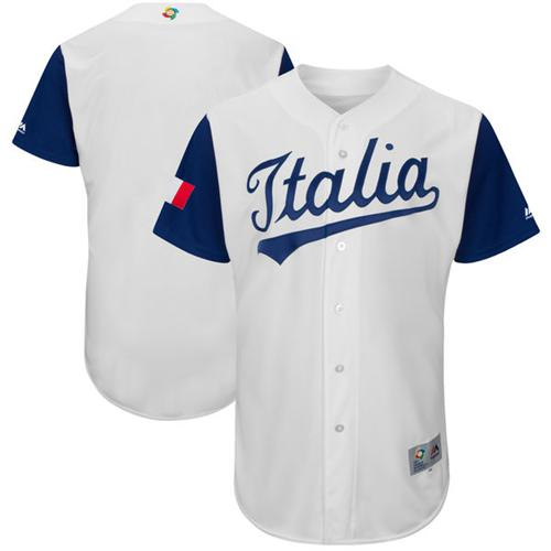 Team Italy Blank White 2017 World MLB Classic Authentic Stitched MLB Jersey