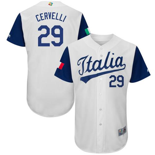 Team Italy #29 Francisco Cervelli White 2017 World MLB Classic Authentic Stitched MLB Jersey