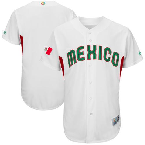 Team Mexico Blank White 2017 World MLB Classic Authentic Stitched MLB Jersey