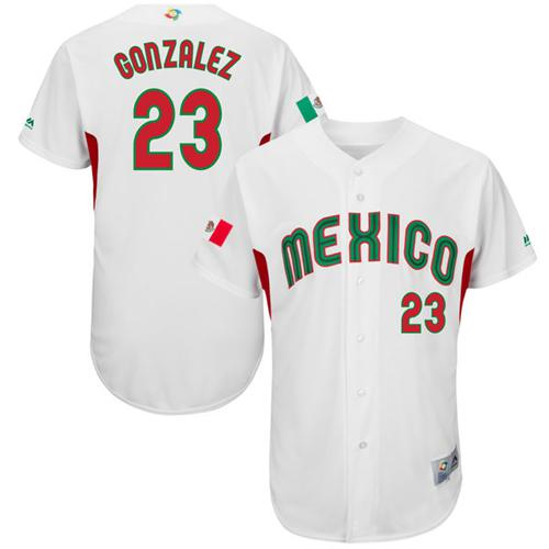 Team Mexico #23 Adrian Gonzalez White 2017 World MLB Classic Authentic Stitched MLB Jersey