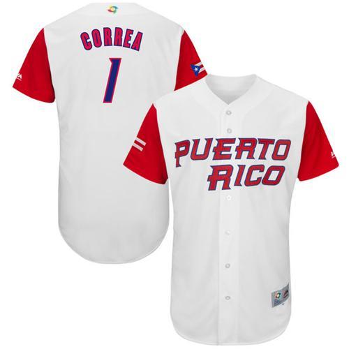 Team Puerto Rico #1 Carlos Correa White 2017 World MLB Classic Authentic Stitched MLB Jersey