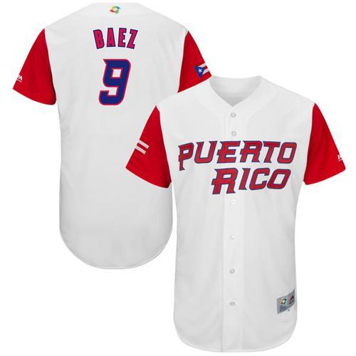 Team Puerto Rico #9 Javier Baez White 2017 World MLB Classic Authentic Stitched MLB Jersey