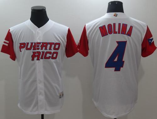 Team Puerto Rico #4 Yadier Molina White 2017 World MLB Classic Authentic Stitched MLB Jersey