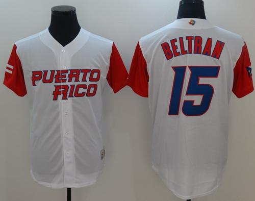 Team Puerto Rico #15 Carlos Beltran White 2017 World MLB Classic Authentic Stitched MLB Jersey