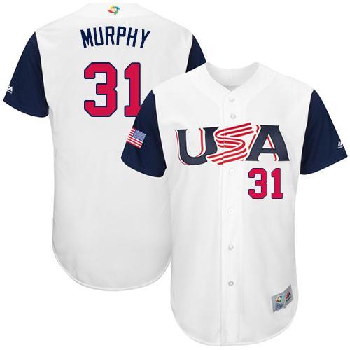Team USA #31 Daniel Murphy White 2017 World MLB Classic Authentic Stitched MLB Jersey