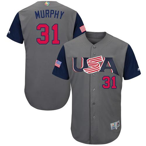 Team USA #31 Daniel Murphy Gray 2017 World MLB Classic Authentic Stitched MLB Jersey