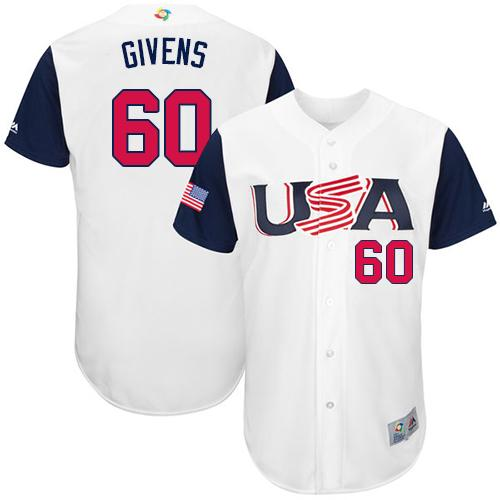 Team USA #60 Mychal Givens White 2017 World MLB Classic Authentic Stitched MLB Jersey