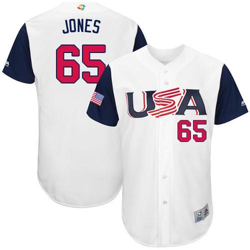 Team USA #65 Nate Jones White 2017 World MLB Classic Authentic Stitched MLB Jersey