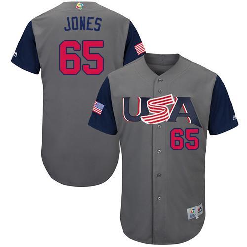 Team USA #65 Nate Jones Gray 2017 World MLB Classic Authentic Stitched MLB Jersey